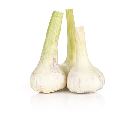 Three young garlic bulbs stack with green stems isolated on white background