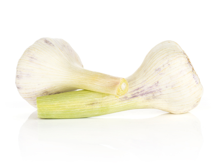 Young garlic with green stems two bulbs isolated on white background