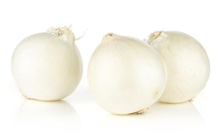 흰 양파 3 빛나는 진주 흰색 배경에 고립 스톡 콘텐츠