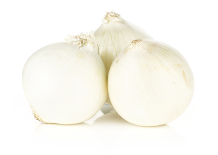 White onion three shiny and fresh pearls stack isolated on white background