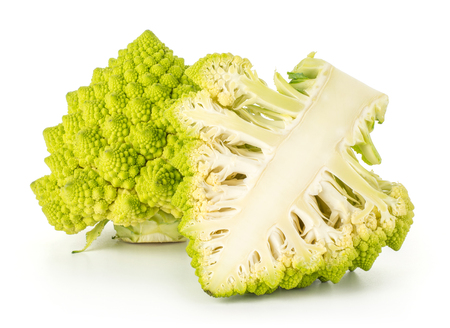 Romanesco cauliflower one head section half compare isolated on white background