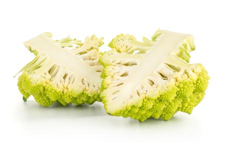 Two green Romanesco cauliflower halves isolated on white background section  Stock Photo