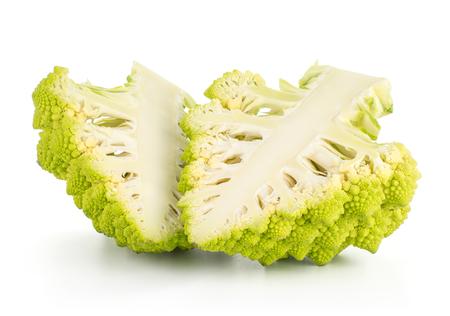 Two green Romanesco cauliflower halves isolated on white background section slice  Stock Photo