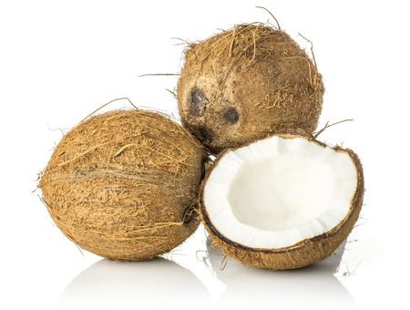 Two coconuts with one cracked half isolated on white background brown fibrous shell with milk meat