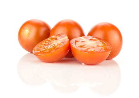 Red grape cherry tomatoes three whole two sliced halves isolated on white background Stok Fotoğraf