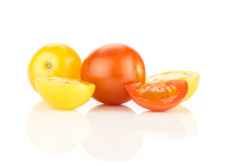 Grape cherry tomatoes mix set isolated on white background two whole yellow and red varieties three sliced pieces Stok Fotoğraf
