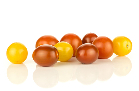 Grape cherry tomatoes mix isolated on white background yellow black red whole ripe collection