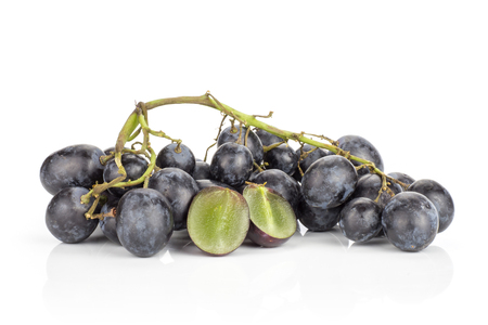 Black grape cluster (autumn royal variety) isolated on white background one purple berry cut in two halves  Stock Photo
