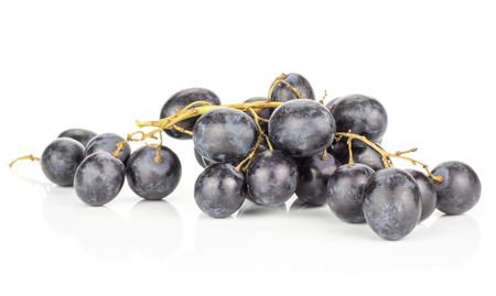 Black purple grape cluster (autumn royal variety) isolated on white background  Stock Photo