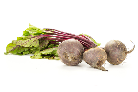 Red beet with greens isolated on white background three bulbs root with fresh young leaves
