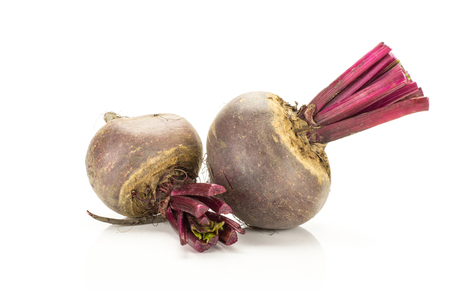 Red beet two young bulbs isolated on white background