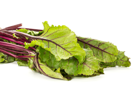 Beet greens bundle young fresh leaves isolated on white background