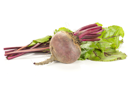 One red beet with cut tops isolated on white background one young root bulb with cut green leaves