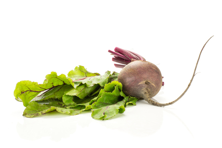 One red beet with green fresh leaves isolated on white background one young root bulb