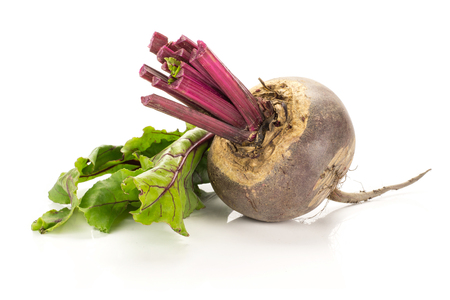 One red beet with cut tops isolated on white background one bulb with greens
