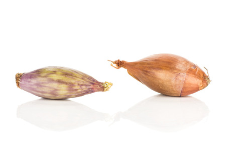 Two shallots isolated on white background comparing peeled and in a husk