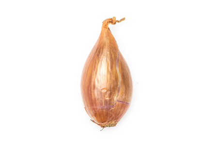 One golden shallot in a husk flatlay isolated on white background  写真素材
