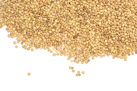 Lot of whole raw green lentil seeds flatlay isolated on white