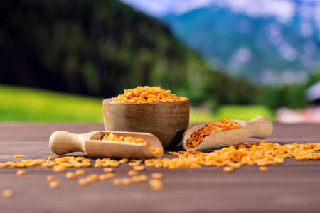 Lot of whole raw red lentils and two scoops with wooden bowl with country nature in background Stok Fotoğraf