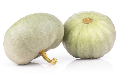 Group of two whole fresh blue grey pumpkin Stock Photo