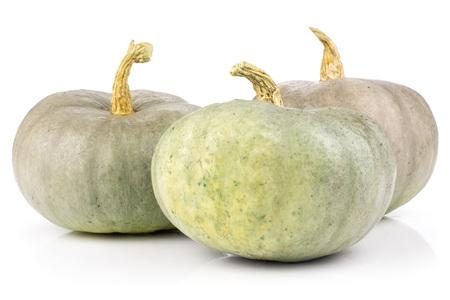 Set of three whole fresh blue grey pumpkin Stock Photo