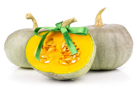 Group of two whole one half of fresh blue grey pumpkin Stock Photo