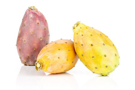 Group of three whole pale green orange red fresh bright prickly pear opuntia isolated on white background