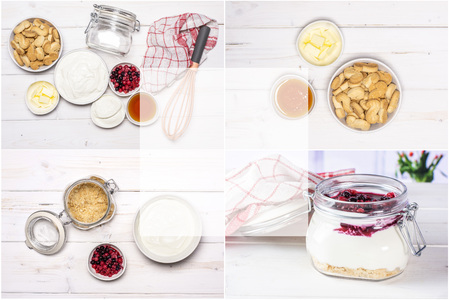 Collage recipe step by step no bake cheesecake on white wood