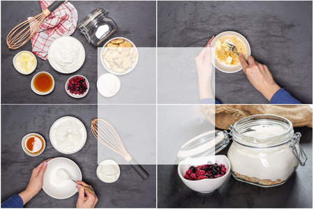 Collage recipe step by step no bake cheesecake on grey stone