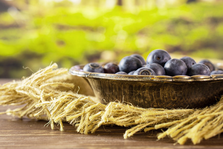 Lot of whole fresh sweet purple blueberry american in old iron bowl on jute cloth with forest in background Stock Photo
