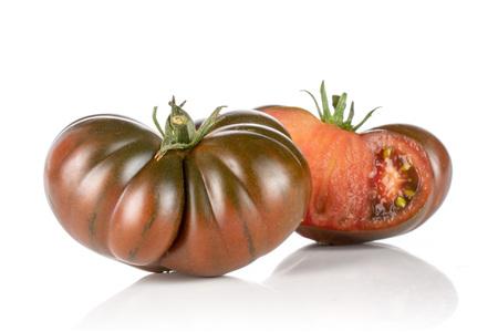 Group of one whole one half of fresh tomato primora isolated on white background Stok Fotoğraf