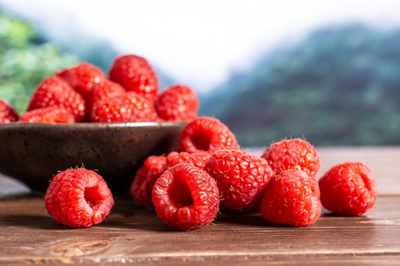 Lot of whole fresh red raspberry stack on grey ceramic plate in a foggy jungle mountains