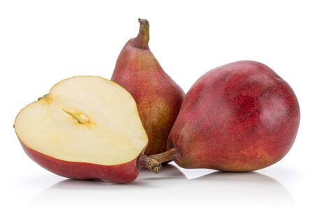 Group of two whole one half of fresh dark red pear anjou isolated on white background