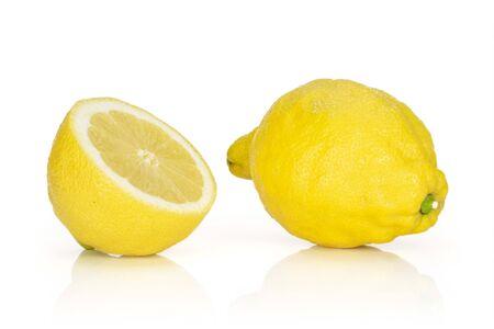 Group of one whole one half of fresh yellow lemon isolated on white background 版權商用圖片
