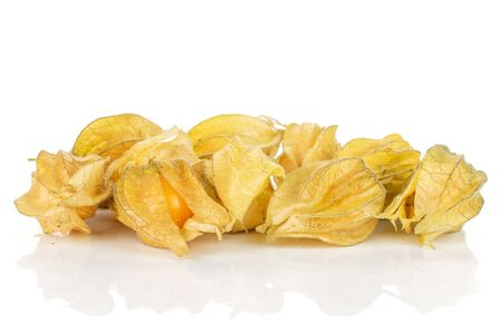Lot of whole fresh orange physalis isolated on white background