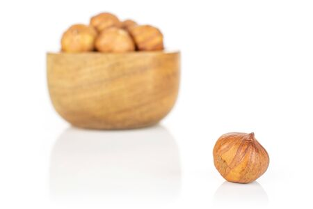 Lot of whole ripe brown hazelnut one is in front and rest is in back in tiny wooden bowl isolated on white background