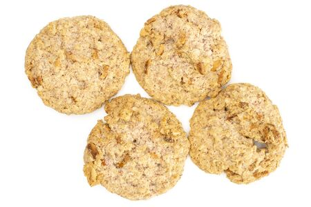 Group of four whole oat crumble biscuit flatlay isolated on white background