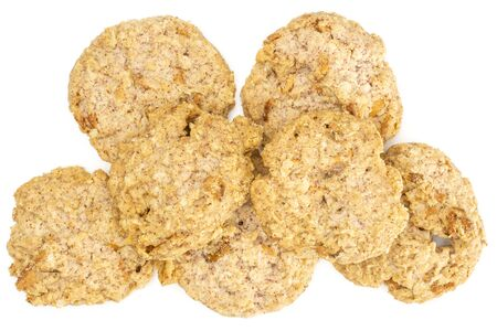 Group of seven whole oat crumble biscuit flatlay isolated on white background