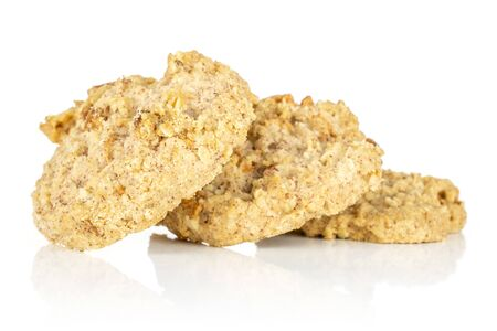 Group of three whole oat crumble biscuit isolated on white background