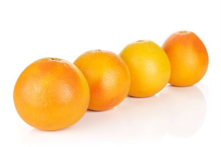 Group of four whole fresh pink grapefruit placed diagonally in line isolated on white background Imagens