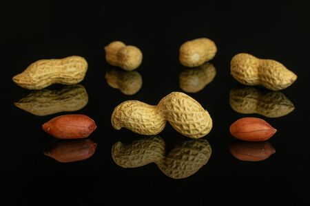 Lot of whole natural yellow peanut arranged symmetrically isolated on black glass