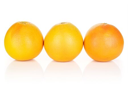 Group of three whole fresh pink grapefruit in row isolated on white background