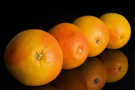 Group of four whole fresh pink grapefruit placed diagonally in line isolated on black glass