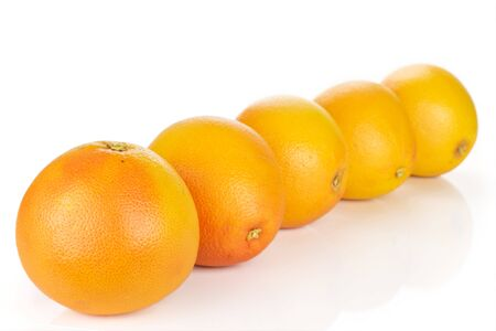 Group of five whole fresh pink grapefruit placed diagonally in line isolated on white background Imagens