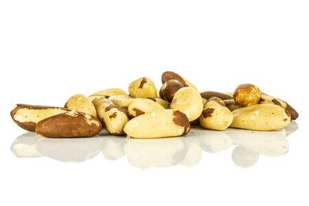 Lot of whole unshelled brazil nut stack isolated on white background Stock fotó
