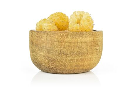 Lot of whole fresh golden hymalayan raspberry isolated on white background Stok Fotoğraf