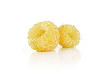 Group of two whole fresh golden hymalayan raspberry isolated on white background Stok Fotoğraf