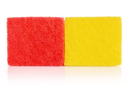 Group of two whole cleaning kitchen sponge isolated on white background