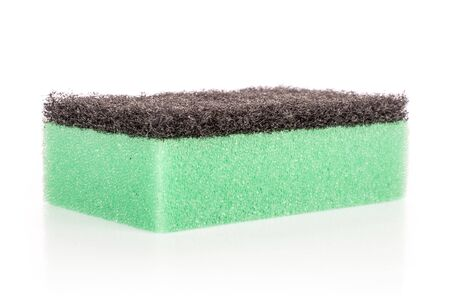 One whole green cleaning kitchen sponge isolated on white background Banco de Imagens