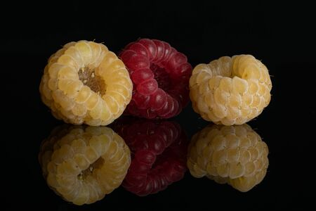 Group of two whole fresh golden hymalayan raspberry with one red berry isolated on black glass